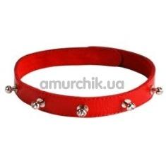 Кожаный ошейник с короткими шипами, красный - Фото №1