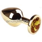 Анальная пробка с желтым кристаллом SWAROVSKI Gold Citrine Middle, золотая