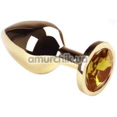 Анальная пробка с желтым кристаллом SWAROVSKI Gold Citrine Middle, золотая - Фото №1