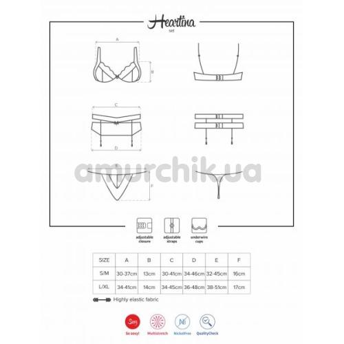 Костюм горничной Obsessive Maid черный: топ + юбка + стринги + браслеты