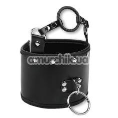 Ошейник с кляпом кольцом Пикантные Штучки, черный - Фото №1