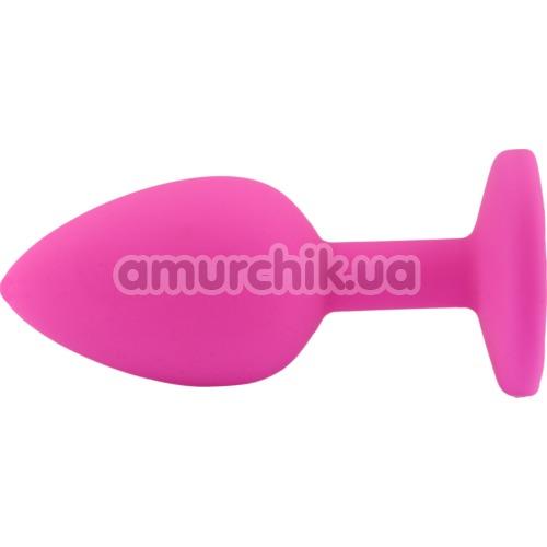 Анальная пробка с салатовым кристаллом SWAROVSKI Zcz, розовая