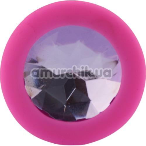 Анальная пробка с сиреневым кристаллом SWAROVSKI Zcz, розовая