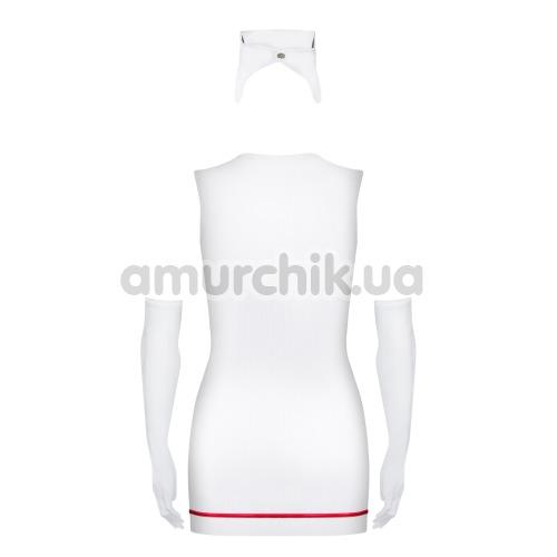 Костюм медсестры Obsessive Emergency белый: платье + обруч + перчатки + стринги + стетоскоп