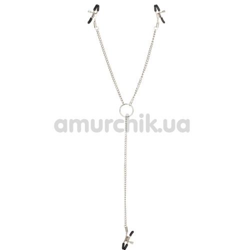 Зажимы для сосков и клитора Nipple Play Triple Intimate Clamps, серебряные - Фото №1
