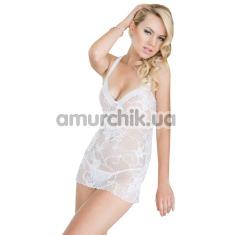 Комплект Ana белый: комбинация + трусики-стринги - Фото №1