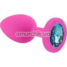 Анальная пробка с голубым кристаллом SWAROVSKI Zcz, розовая - Фото №1