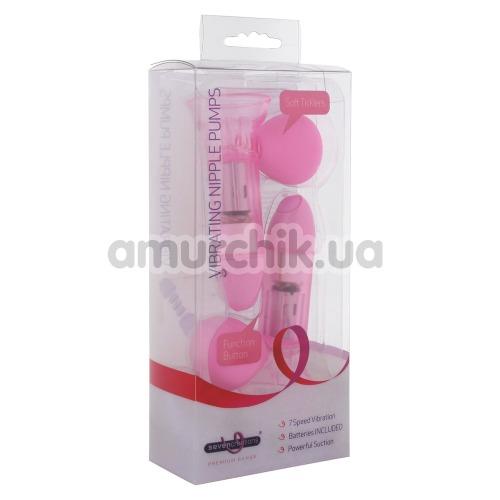 Вакуумные стимуляторы для сосков с вибрацией Vibrating Nipple Pump, розовые