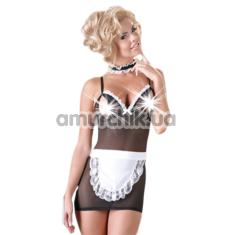 Костюм официантки Cottelli Collection Costumes 2470527 чёрно-белый: мини-платье + фартук + чокер - Фото №1
