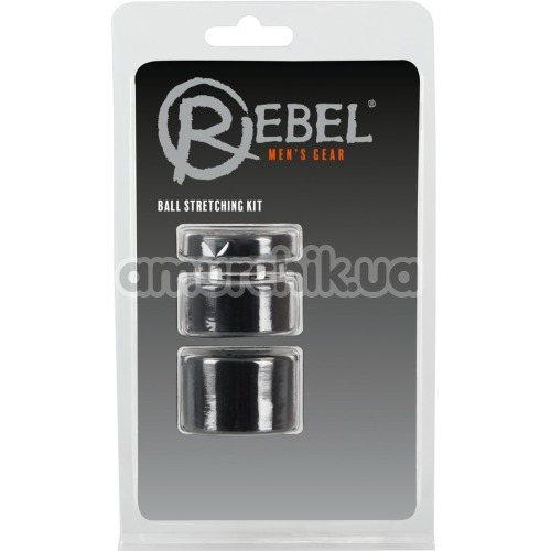 Набор из 3 эрекционных колец Rebel Men's Gear Ball Stretching Kit, черный