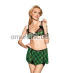 Костюм школьницы Cameron зеленый: бюстгальтер + юбочка + трусики-стринги + бантик на голову - Фото №1