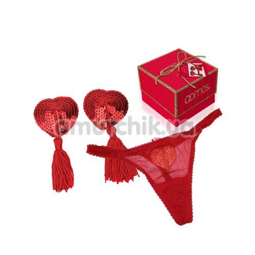 Комплект Admas красный: трусики-стринги + украшения для сосков