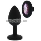 Анальная пробка с розовым кристаллом All Time Favorites Silicone Diamond Anal Plug, черная - Фото №1