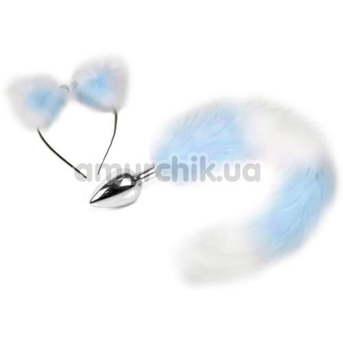 Анальная пробка Пикантные Штучки S с хвостом и ушками, голубая