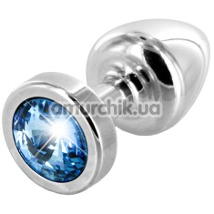 Анальная пробка с голубым кристаллом SWAROVSKI Anni, серебряная - Фото №1