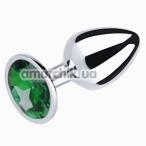 Анальная пробка с зеленым кристаллом SWAROVSKI Silver Emerald Big, серебряная - Фото №1