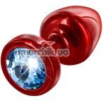 Анальная пробка с голубым кристаллом SWAROVSKI Anni, красная - Фото №1