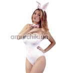 Костюм кролика Cottelli Collection 2470225 белый: боди + галстук-бабочка + ушки - Фото №1