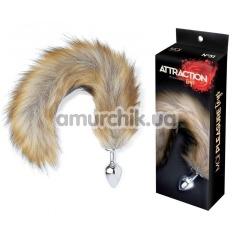 Анальная пробка c коричневым хвостом Mai Attraction Pleasure Toys N51, серебряная - Фото №1