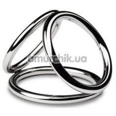 Эрекционное кольцо Unbendable Triad Chamber Metal Cock And Ball Ring L, серебряное - Фото №1