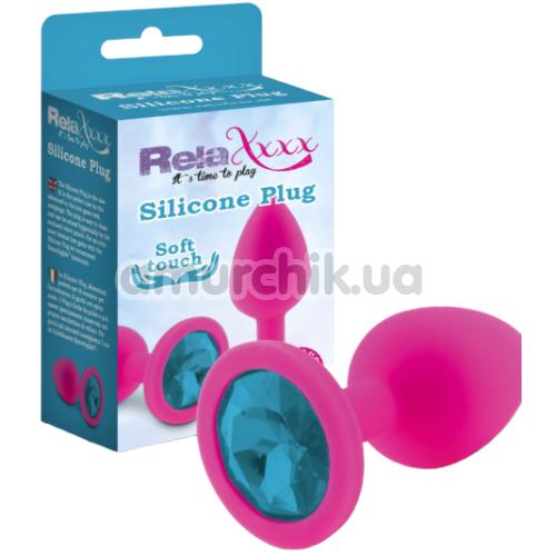 Анальная пробка с голубым кристаллом RelaXxxx Silicone Plug Medium, розовая