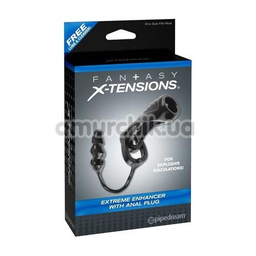 Насадка на пенис с анальной пробкой Fantasy X-tensions Extreme Enhancer With Anal Plug, черная