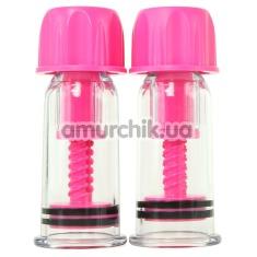Вакуумные стимуляторы для сосков Vacuum Twist Suckers, розовые