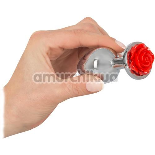 Анальная пробка Rose Butt Plug, серебряная
