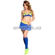 Костюм футболистки Ola синий: бюстгальтер + юбочка + гольфы - Фото №1