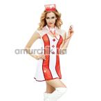 Костюм медсестры JSY Sexy Lingerie 6310 бело-красный: халат + трусики-стринги + головной убор + стетоскоп - Фото №1
