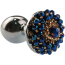 Анальная пробка с синими кристаллами Seamless Butt Plug Starting Silver Metal S, серебряная - Фото №1