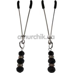Зажимы для сосков Nipple Clamp с черными камушками, серебряные - Фото №1