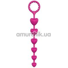 Анальная цепочка Bootyful Heart Beads, розовая - Фото №1