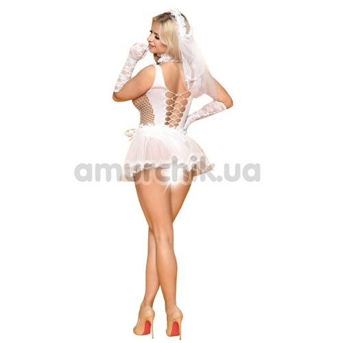 Костюм невесты JSY Sexy Lingerie белый: боди + юбка + чокер + фата + перчатки