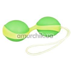 Вагинальные шарики Amor Gym Balls Duo, салатово-желтые - Фото №1