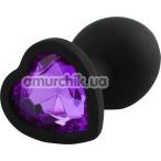 Анальная пробка с фиолетовым кристаллом Silicone Jewelled Butt Plug Heart Small, черная - Фото №1
