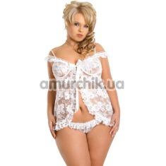 Комплект Erika белый: комбинация + трусики-стринги - Фото №1