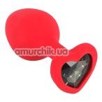 Анальная пробка с черным кристаллом Silicone Plug Medium, красная - Фото №1