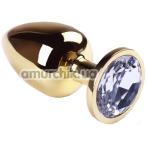 Анальная пробка с прозрачным кристаллом SWAROVSKI Gold Diamond Big, золотая
