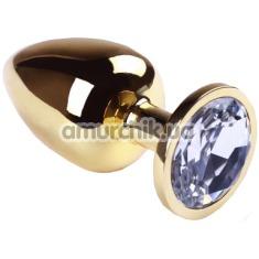 Анальная пробка с прозрачным кристаллом SWAROVSKI Gold Diamond Big, золотая - Фото №1