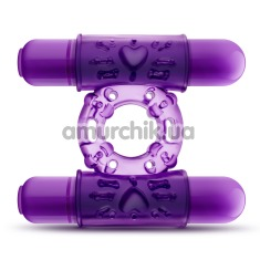 Виброкольцо Double Play Dual Vibrating Cock Ring, фиолетовое - Фото №1