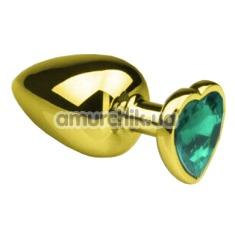 Анальная пробка с зеленым кристаллом SWAROVSKI Gold Heart Emerald S, золотая - Фото №1