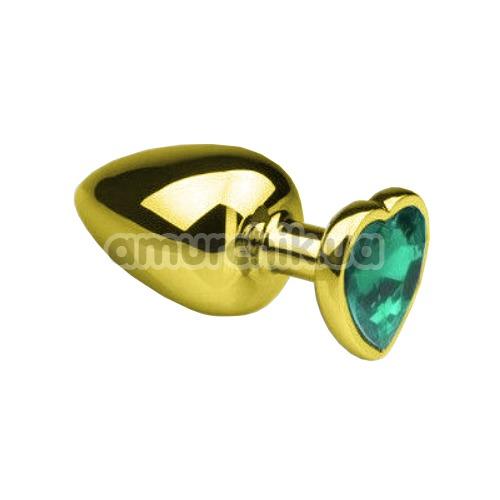 Анальная пробка с зеленым кристаллом SWAROVSKI Gold Heart Emerald S, золотая