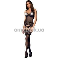 Комплект Obsessive Letica, черный: корсет + трусики-стринги - Фото №1