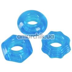 Набор эрекционных колец Stretchy Cock Ring Set, голубой - Фото №1