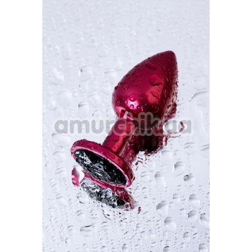 Анальная пробка с черным кристаллом Toyfa Metal 717007-95, розовая