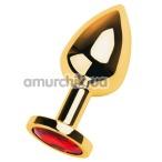 Анальная пробка с красным кристаллом Toyfa Metal 717005-9, золотая - Фото №1