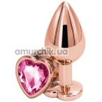 Анальная пробка с розовым кристаллом SWAROVSKI в виде сердца Rear Assets М, золотая - Фото №1