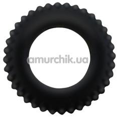 Эрекционное кольцо Baile Titan Cock Ring ребристое, черное - Фото №1