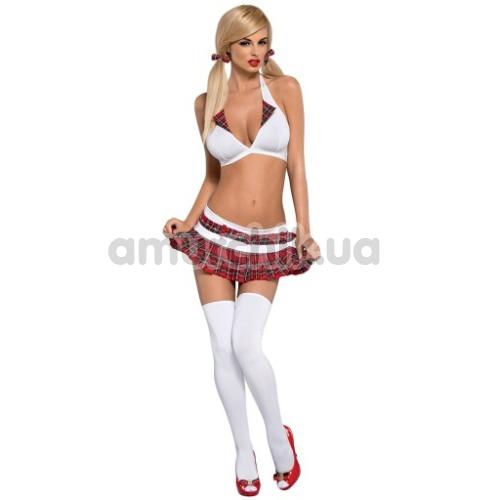Костюм школьницы Obsessive Schooly бордовый: топ + юбка + стринги + чулки + резинки для волос - Фото №1